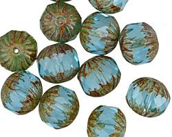 Czech Glass Aquamarine Picasso Cruller 10x11mm