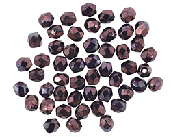 Czech Fire Polished Glass Luster Metallic Amethyst Round 3mm