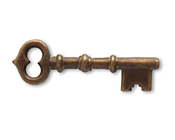 Vintaj Natural Brass Skeleton Key 13x43mm