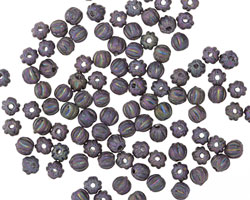 Czech Glass Matte Iris Purple Melon Round 3mm