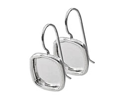 Nunn Design Sterling Silver (plated) Small Square Frame Earring 12mm
