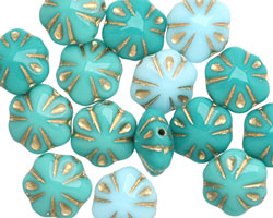 Czech Glass Opaque Ocean Mix Gilded Gold Flower 10mm