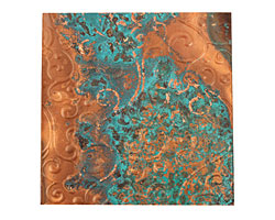 "Lillypilly Azul Scrolling Vine Embossed Patina Copper Sheet 3""x3"", 36 gauge"