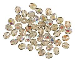 Czech Fire Polished Glass Black Diamond AB Round 3mm