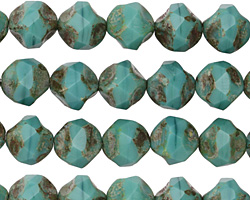 Czech Glass Turquoise Picasso Chandelier Cut 8mm