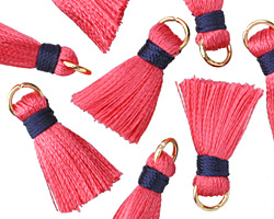 Pink Coral w/ Navy Binding & Jump Ring Thread Tassel 17mm