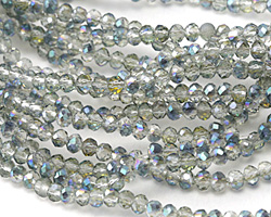 Electric Blue Luster Crystal Faceted Rondelle 3mm