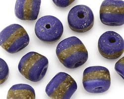 African Powder Glass (Krobo) Navy Blue w/Band Tumbled Round 10-12mm