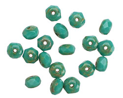 Czech Glass Turquoise Fire Polished Rondelle 4x5mm