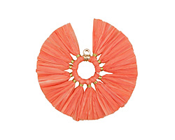 Pink Coral Fanned Raffia Tassel on Ring w/ Gold Finish 55mm