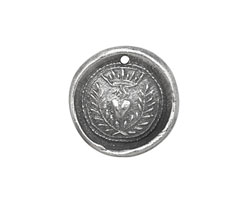 The Lipstick Ranch Pewter Flaming Heart w/ Crown Wax Seal Charm 20mm
