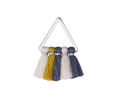 Varsity Mix Small Fanned Tassel on Triangle Ring w/ Silver Finish 15x23mm