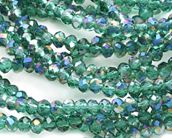 Emerald AB Crystal Faceted Rondelle 3mm