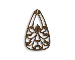 Vintaj Natural Brass Emblazonry Pendant 16x26mm