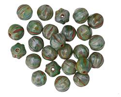 Czech Glass Jungle Green Picasso Melon Round 6mm