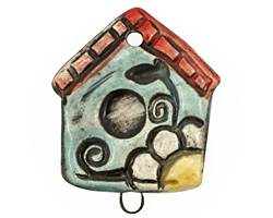 Jangles Ceramic Bird House Pendant 28x36mm