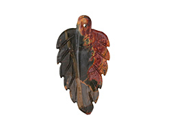 Red Creek Jasper Carved Leaf Focal Pendant 29-31x50-55mm