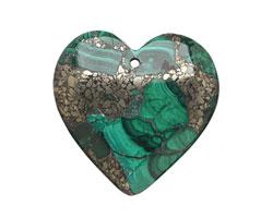 Malachite & Pyrite Heart Pendant 29x38mm