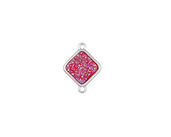 Metallic Hot Pink Crystal Druzy Diamond Link in Silver Finish Bezel 16x12mm