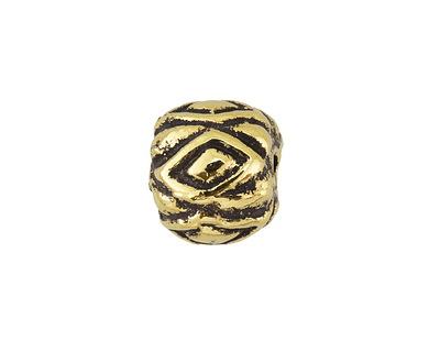 Greek Antique Gold (plated) Diamond Pattern Bead 10x12mm