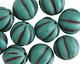 Czech Glass Matte Turquoise w/ Chocolate Melon Round 14mm