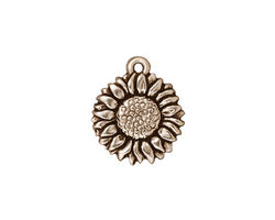 TierraCast Antique Silver (plated) Sunflower Charm 15x18mm