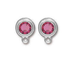 TierraCast Rhodium (plated) Stepped Bezel Ear Post w/ Rose Crystal 12x17mm