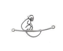 Amoracast Sterling Silver Monkey on Focal Link 31x16mm