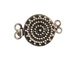 Sterling Silver Round Box Clasp w/ Circles of Dots 28x19mm