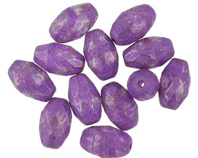 Czech Glass Luster Electric Purple Faceted Rice 12x8mm