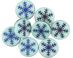 Czech Glass Laser Etched Aqua on Turquoise w/ Iris Blue Finish Coin 14mm