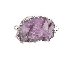 Purple Druzy Pendant Link set in Silver (plated) 28-40x18-26mm