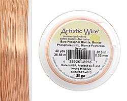 Artistic Wire Bare Phosphor Bronze 28 gauge, 40 yards