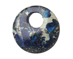 Midnight Blue Impression Jasper Coin Pendant 30mm