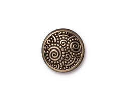 TierraCast Antique Brass (plated) Spirals Snap Cap 15mm