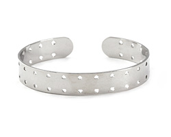 Silver Finish Double-Sided Stitchable Cuff Bracelet 60x10mm