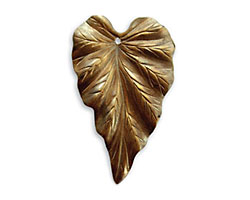 Vintaj Natural Brass Woodland Leaf Pendant 23x38mm