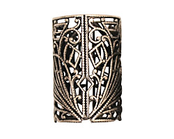Stampt Antique Pewter (plated) Short Deco Filigree Tube 26x18mm