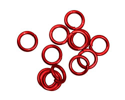 Red Anodized Aluminum Jump Ring 7mm, 18 gauge (5mm inside diameter)