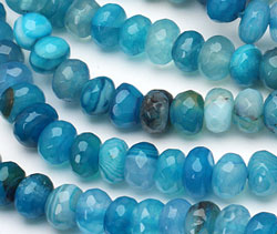 Sky Blue Line Agate Faceted Rondelle 8mm