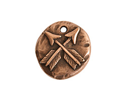Nunn Design Antique Copper (plated) Organic Round Crossed Arrow Charm 17x19mm