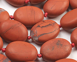 Red Jasper (matte) Puff Oval 17-20x13-15mm