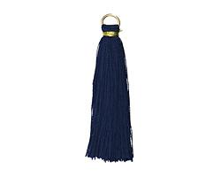 Montana Blue w/ Gold Binding & Jump Ring Thread Tassel 50mm