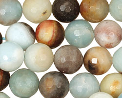 Black Gold Amazonite Faceted Round 12mm
