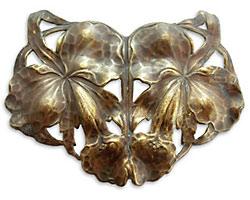 Vintaj Natural Brass Arts & Crafts Lilies Pendant 72x55mm