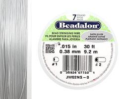 "Beadalon Satin Silver .015"" 7 Strand Wire 30ft."