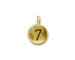 """TierraCast Antique Gold (plated) Round Number """"7"""" Charm 12x17mm"""