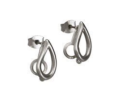 Satin Rhodium (plated) Open Teardrop Ear Post w/ Loop & Back 9x15mm