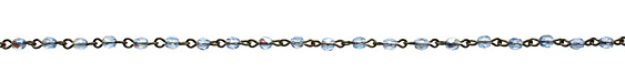 Czech Fire Polished Light Sapphire AB Faceted Oval Gunmetal (plated) Bead Chain