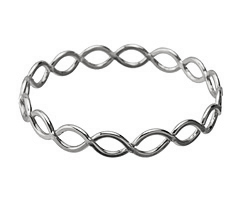 Antique Silver (plated) Lattice Bangle Bracelet 69mm